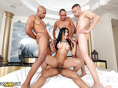 Watch the sexy Tgirl Bruna Butterfly take her first gangbang!