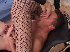 Beautiful slim tgirl sucked by dude